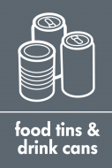 Recycling Sticker - Food Tins and Drink Cans (WRAP Compliant)